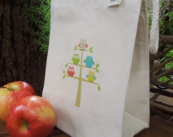 Recycled cotton lunch bag - lunch bag - canvas lunch bag - Ecofriendly - Small project bag - O W L S - You choose from 3 options