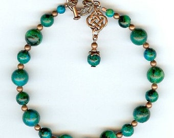 Copper Celtic Knot charm bracelet with Chrysacolla gemstones