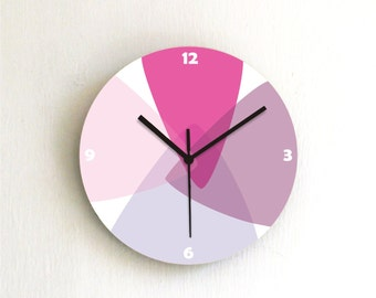 Pink Purple Pastel Geometric kitchen modern unique home decor living room bedroom decorative patterned Wall Clock