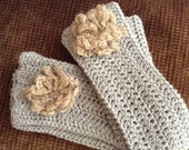 Long Wrist Warmers Gray Cotton
