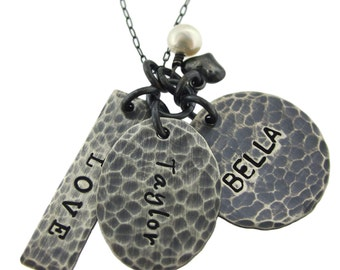 Antiqued Family Multi Hand Stamped Necklace By Hannah Design