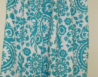 "RTS Two 50"" wide rod pocket designer curtain panels, unlined Suzani turquoise blue on white"