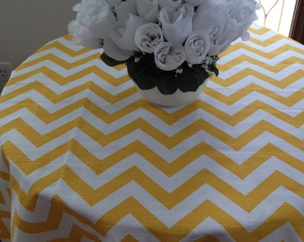 Round Tablecloth, Yellow And White Chevron Zig Zag, For Home Or Weddding  Party Custom