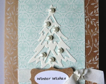 Lovely Shabby Chic Hand Stamped Holiday or Christmas Tree Card