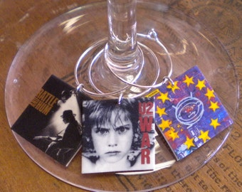 6 or 8 U2 Album Cover Wine Charms for Music/Wine Lover 'Your wine glasses deserve Cool SASSY Jewelry' Fast Shipping Great Gift for your BFF