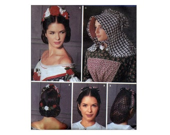 Civil War Era Hats Pattern Bonnet, Floral Headpiece and Snood Sewing Pattern SCA Accessories Living History Costume Hair Dressing Victorian
