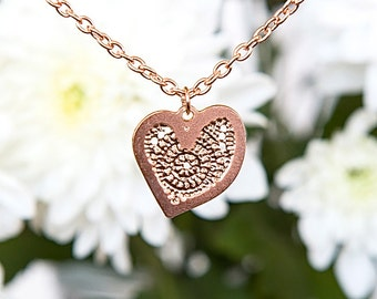 Rose Gold necklace, Textured pendant, TINY Heart shaped pendant, Dainty Rose Gold necklace, Modern necklace, Heart necklace