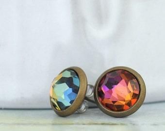 mystic topaz stud earrings - VINTAGE SPARKLE - Swarovski glass crystal stud earrings in antiqued brass with steel posts