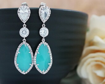 Wedding Jewelry Bridesmaids Gift Bridal Earrings Bridesmaid Earrings Dangle Earrings LUX Mint Opal with cubic zirconia drop Earrings