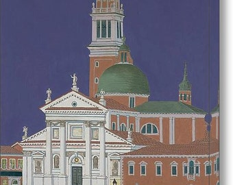 Moonrise Over Venice - Fine Art Canvas Print, Italy, Italian, Grand Canal, Night, Blue, Wall Art, Home Decor, Gift, Architecture