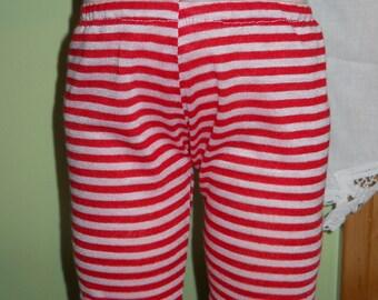Waldorf Doll Red and White Stripe Leggings  - 15 Inch Bambo Size - BG