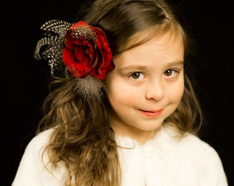 Boutique Fine Red Flower Clip with spotted black and white feathers for Baby, Little Girl, Toddler, Wedding, Bridesmaids, Photo Prop, Pearl