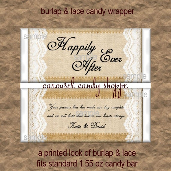 Rustic Wedding Favors BURLAP AND LACE Theme Candy Bar