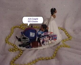 African American NY Giants Football Fan Sports AA Couple Groom Wedding Cake Topper-NFL