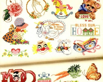 50 Cross Stitch Design Counted Embroidery Country  Kitchen Holiday Babies Heart Hand Easter Butterflies Vegetable Craft Pattern Leaflet 3555