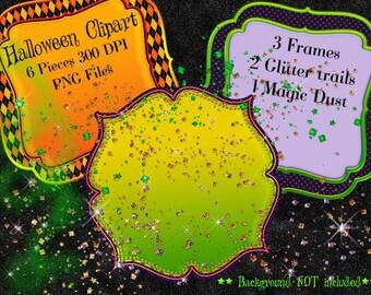Halloween Frame Clipart, Halloween Glitter, Halloween Clipart