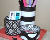 The Best Tin Can Desk Accessory Set Ever - Pencil Holder - Black and White Stripes Chevron Damask Polka Dot Desk Accessories No 310