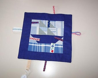 Cloth label. Sailing boat blue