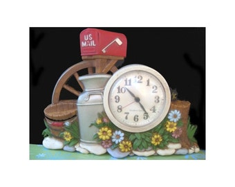 Vintage BURWOOD Wall Clock With A Mailbox, Milkcan And Wooden Bucket Design 1983