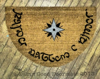 Tolkien speak friend and enter doormat geek by damngooddoormats - Geeky welcome mats ...