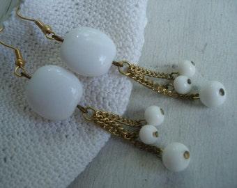 Vintage White Milk Glass Gold Beaded Dangle Earrings Summer