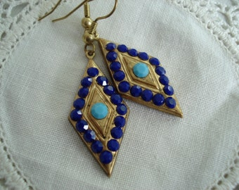 Vintage 1920s Art Deco Gold Diamond Shaped Earrings Lapis and Turquoise Rhinestones Native Tribal Inspired