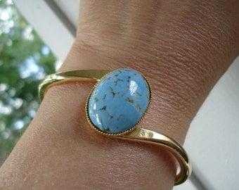 Vintage Turquoise Czech Glass Gold Bracelet Mid Century Classic