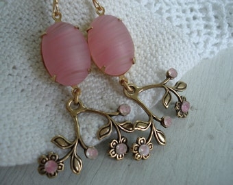Vintage Matte Pink and Antique Givre Rhinestone Gold Dangle Earrings Frosted Glass Woodland Flowers