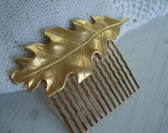 Luminous Matte Gold Oak Leaf Comb Autumn Fall Woodland Nature Inspired