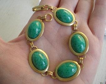 Vintage Jade Peking Glass Gold Bracelet Cherry Brand 1940's 1950's