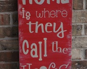 Officially Licensed University of Arkansas Rustic Home Is Where They Call the Hogs Vertical Wooden Sign  : YOU CHOOSE COLORS