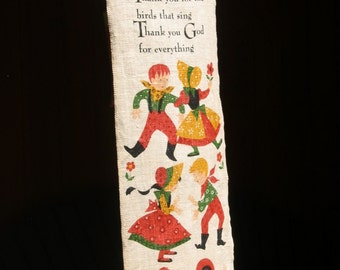 SALE Thankful Dancers 7x28 Country theme Thank You God linen Banner, wall hanging