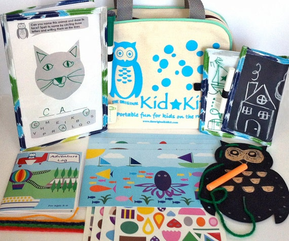 Kid's Travel Kit, Kids Activity Kit, The Original KidKit, Travel Games in Cute Owl Bag, Kid Craft Kit, Kids Gift