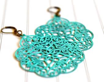 Turquoise Earrings, Dangle Earrings, Hand Painted Filigree, Bohemian Boho Jewelry, Bridesmaid Earrings, Lightweight Turquoise Earrings