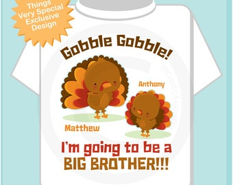 Thanksgiving Big Brother Turkey T shirt or Onesie, Soon to be Big Brother Pregnancy Announcement (11162015b)