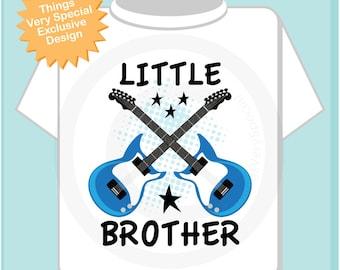 Little Brother Guitar with Stars Rocker Onesie or Tee Shirt (12242013b)