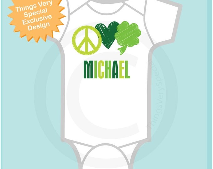 St Patrick's Day Onesie, Personalized Peace Love Shamrock Shirt or Onesie, 4 Leaf Clover Shirt for Toddlers and Kids (03052012b1)