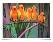 kool & the gang -- art print -- birds / parrots / orange