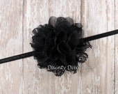 Small Black Lace Chiffon Flower on Skinny Elastic Headband