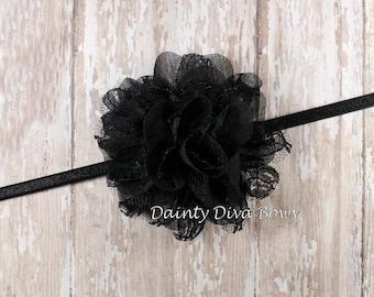 Small Black Lace Chiffon Flower on Skinny Elastic Headband