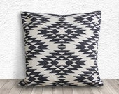 Pillow Cover, Aztec Pillow Covers, Tribal Decorative Throw Pillows, Burlap Pillows, Black Pillow Covers, 18x18 - Printed Tribal - 042