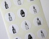 Vintage Perfume Bottle Stickers One Inch Round Seals
