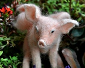 Needle Felted Animal. Felted PIG . PIGASUS. Made to order.