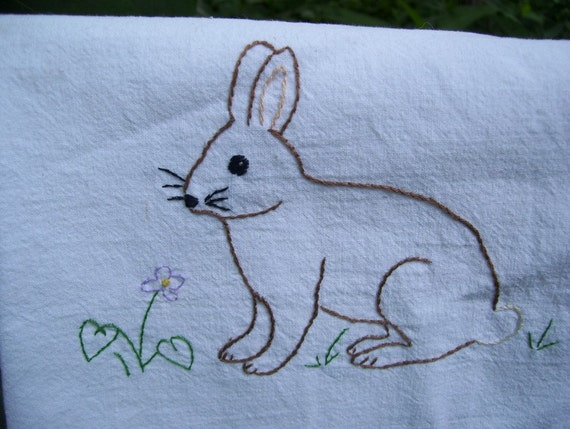 Woodland Rabbit tea towel- hand stitched