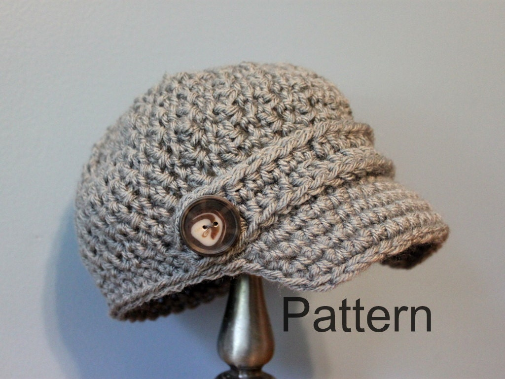 Free Crochet Pattern For Infant Newsboy Hat : Items similar to PATTERN CROCHET Newsboy Cap - Baby and ...