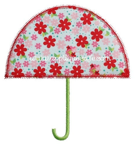 Zig zag umbrella machine embroidery applique design