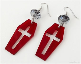 Coffin Earrings, Acrylic Laser Cut, Blood Red, Surgical Steel - Gothic Lolita, Visual Kei