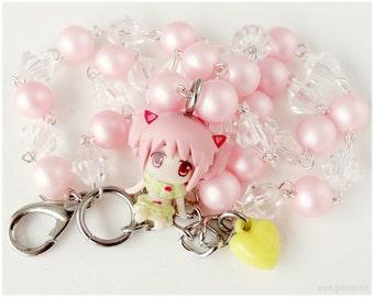 Puella Magi Madoka Magica Necklace, Chibi Madoka Figure, Beaded Pastel Pink Chain - Magical Girl, Fairy Kei