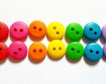 100 pcs 2 holes  buttons for crafts sewing findings size 11 mm mix rainbow color
