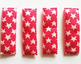 25 pcs - Cute Star Printed Rectangular Hair Clip COVERS -    size 55 mm Hot Pink